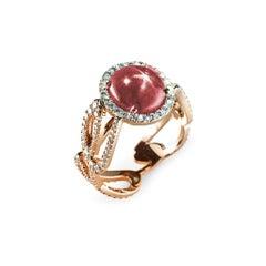 5.56 Carat Star Ruby White Diamonds Rose Gold Engagement Ring