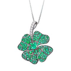 Emeralds White Diamonds Platinum Rhodium-Plated Sterling Silver Pendant Necklace