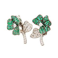 18k White Gold  Emeralds  White Diamond Stud Earrings