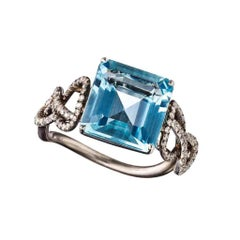 Ring with Aquamarine and White Diamonds in Platinum and Silver with Rhodium