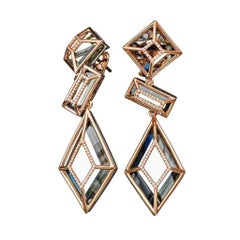 18 Karat Yellow Gold Green Amethyst White Diamonds Earrings Aenea Jewellery