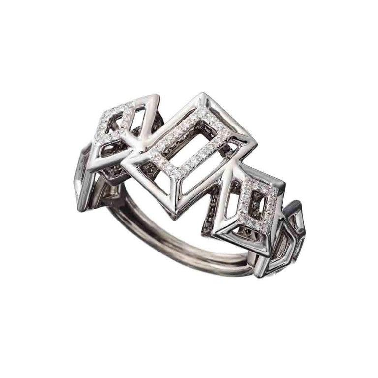 White Diamonds and Black Diamonds and Black Spinel handcrafted in White Gold, Sterling Silver and Rhodium.   Paving: White Diamonds: 0.20ct..; Black Spinel: 0.32ct.Black Diamonds: 0.14ct. Material: White Gold 750; Silver 925; Black Rhodium  These