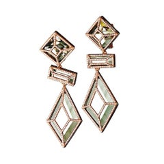 18 Karat Pink Gold Green Amethyst White Diamonds Earrings Aenea Jewellery