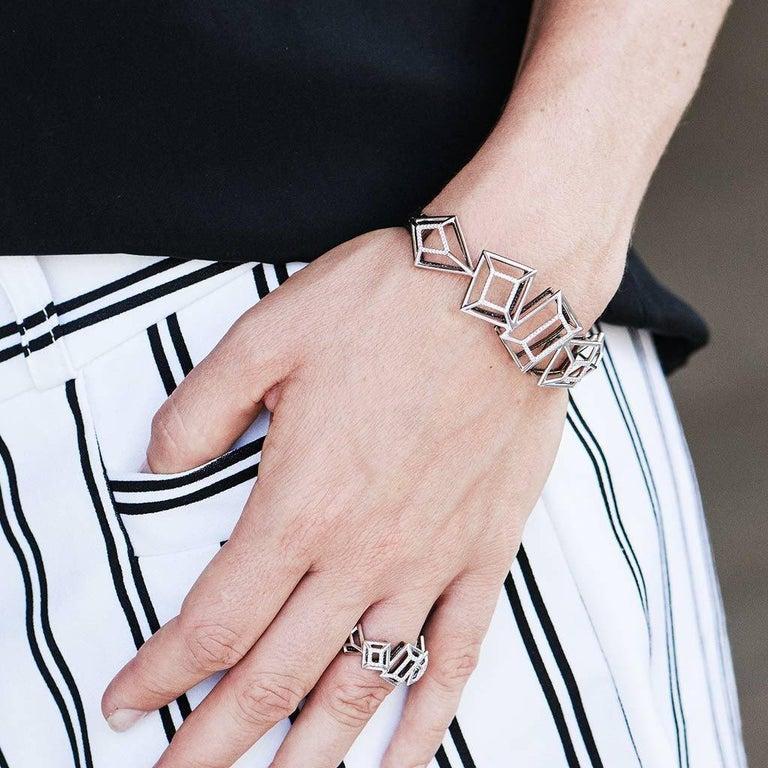 Women's 18 Karat Pink Gold Rhodium Silver White and Black Diamonds Black Spinel Ring For Sale