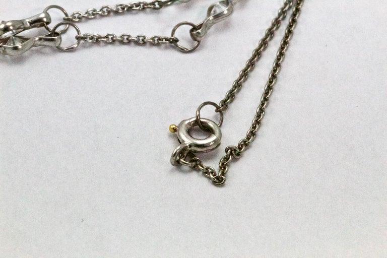 Old European Cut Art Deco Diamond Platinum Necklace Chain For Sale