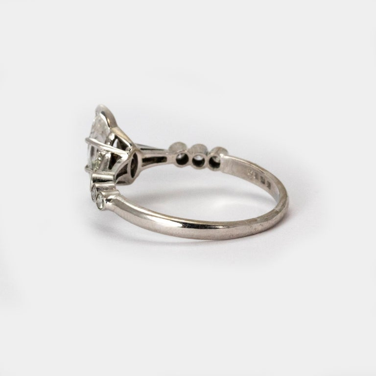 Marquise Cut Certified 1940s Diamond Marquise Ring For Sale