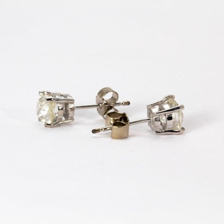 Old European Cut Art Deco Certified 1.9 Carat Diamond Stud Earrings For Sale