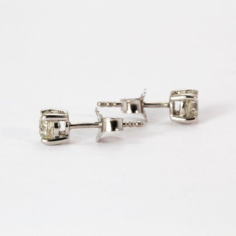 Old European Cut Art Deco Diamond Stud Earrings For Sale