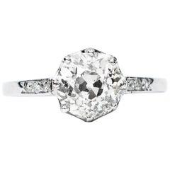 Art Deco Diamond Certified 1.2 Carat Solitaire Platinum Ring