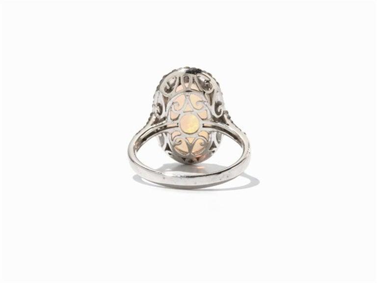 Art Deco Brown Diamond Opal 18 Karat White Gold Cocktail Halo Ring For Sale