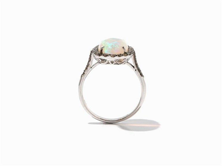 Women's Brown Diamond Opal 18 Karat White Gold Cocktail Halo Ring For Sale