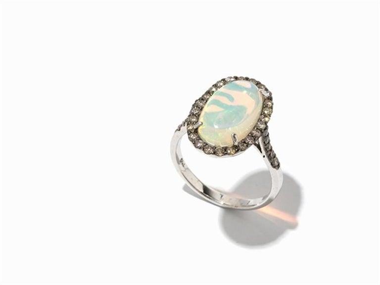 Brown Diamond Opal 18 Karat White Gold Cocktail Halo Ring For Sale 1