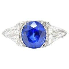 6.39 Carat No Heat Ceylon Royal Blue Natural Sapphire Diamond Platinum Ring