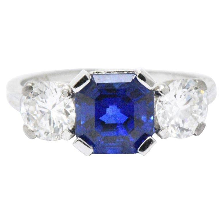 Tiffany & Co. Retro 3.53 CTW No Heat Ceylon Sapphire Diamond Platinum Ring