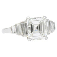 Vintage  2.71 CTW Diamond & Platinum Engagement Art Deco Ring, GIA