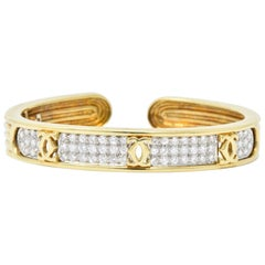 "Cartier 1.95CTW Diamond Platinum & 18K Gold Bangle ""C De Cartier"" Bracelet"