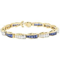 Tiffany & Co. 4.90 Carat Diamond Sapphire Platinum and 18 Karat Gold Bracelet