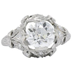 Art Deco 2.71 CTW Diamond Platinum Alternative Ring GIA