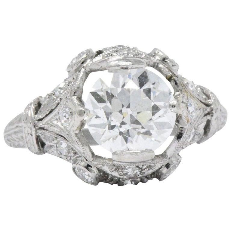 Art Deco 2.71 CTW Diamond Platinum Alternative Ring GIA