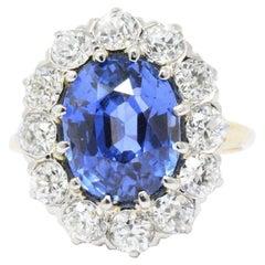 Art Deco No Heat Ceylon 6.65 Carat Sapphire Platinum 18 Karat Diamond Ring