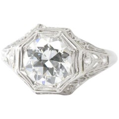 Dynamic Art Deco 1.94 CTW Diamond & Platinum Filigree Alternative Ring GIA