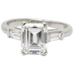 Platinum 1.83 Carat Emerald Cut Diamond Engagement Ring GIA