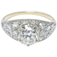 3.34 Carat Edwardian Platinum Topped 18 Karat Yellow Gold Diamond Ring GIA
