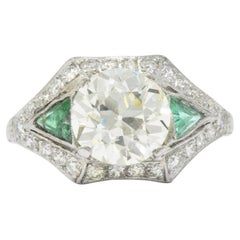 Circa 1930 3.61 CTW Old European Diamond & Emerald Platinum Alternative Ring GIA