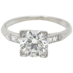 1940's 1.54 Transitional & French Cut Diamond Platinum Engagement Ring GIA