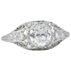 1.21 Carat Art Deco Diamond Platinum Filigree Engagement Ring GIA