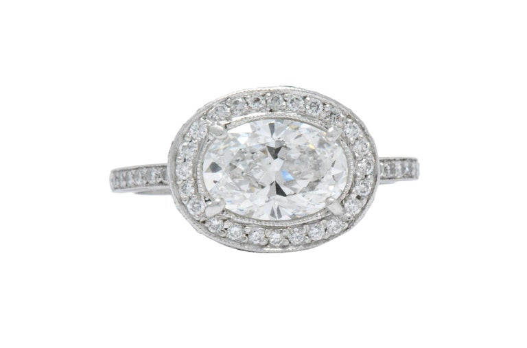 Oval Cut Cartier GIA Cert 1.41 Carat Diamond Platinum Engagement Ring with Original Box For Sale