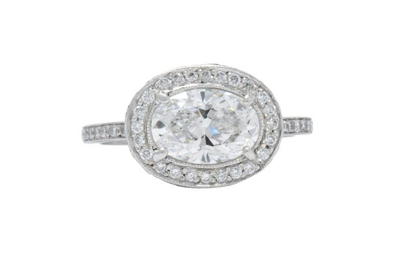 Oval Cut Cartier 1.96 CTW Diamond & Platinum Alternative Ring With Original Box, GIA For Sale