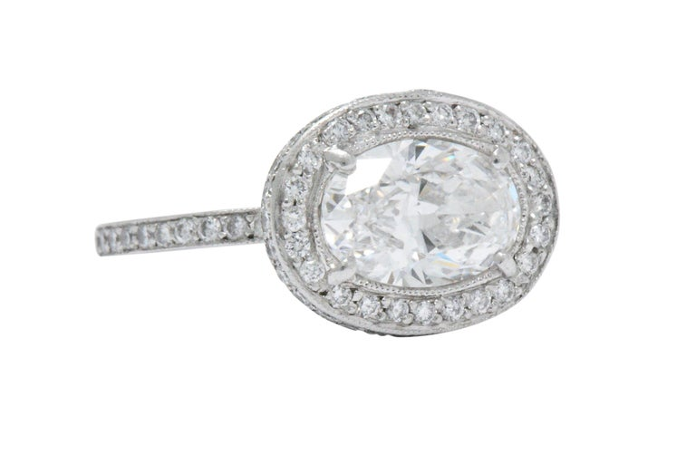 Cartier 1.96 CTW Diamond & Platinum Alternative Ring With Original Box, GIA In Excellent Condition For Sale In Philadelphia, PA