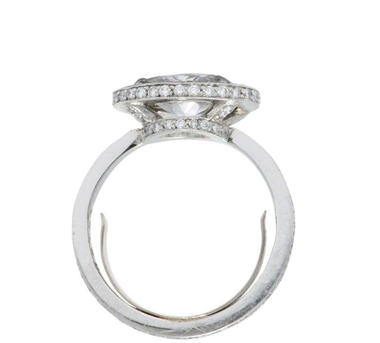 Women's or Men's Cartier 1.96 CTW Diamond & Platinum Alternative Ring With Original Box, GIA For Sale