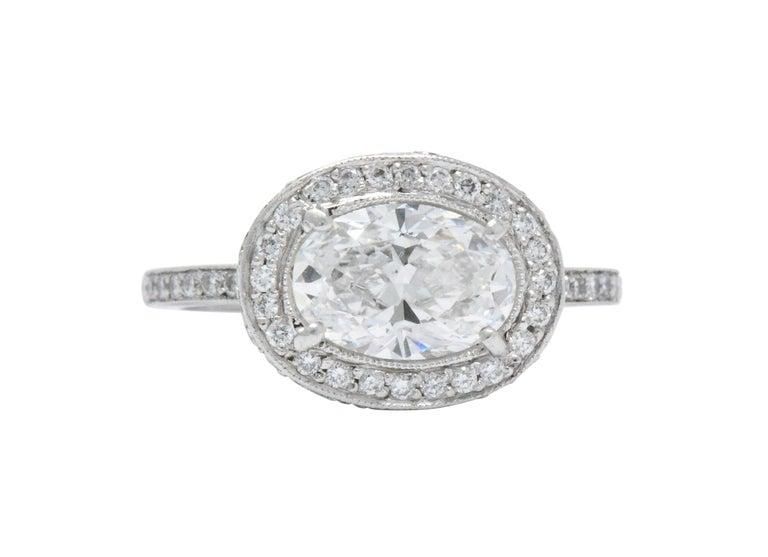 Cartier 1.96 CTW Diamond & Platinum Alternative Ring With Original Box, GIA For Sale 2