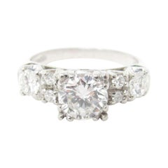 Retro 1.53 CTW Diamond & Platinum Alternative Ring 1950's GIA