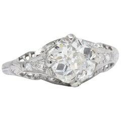 1.28 Carat Diamond Platinum Art Deco Engagement Ring GIA
