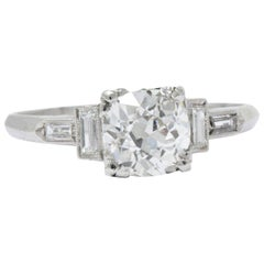 1.71 Carat Diamond Platinum Art Deco Engagement Ring GIA