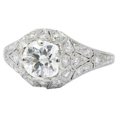 1.66 Carat Diamond Platinum Art Deco Engagement Ring GIA