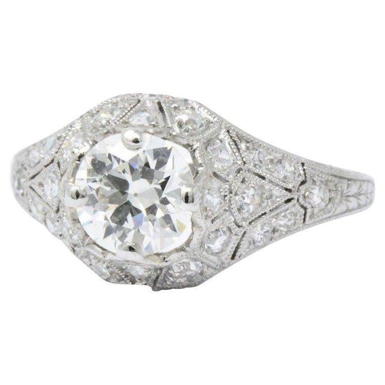 Sensational Art Deco 1.66 CTW Diamond & Platinum Alternative Ring GIA