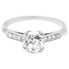 1940's Dazzling 1.49 CTW Diamond & Platinum Alternative Ring GIA Certified