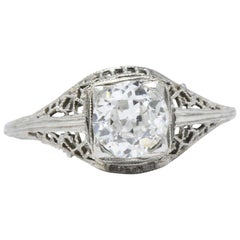 1930's Vintage 1.06 CTW Diamond & 18K White Gold Alternative Ring GIA Certified