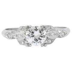 1940's .54 CTW Transitional Cut Diamond Platinum Engagement Alternative Ring