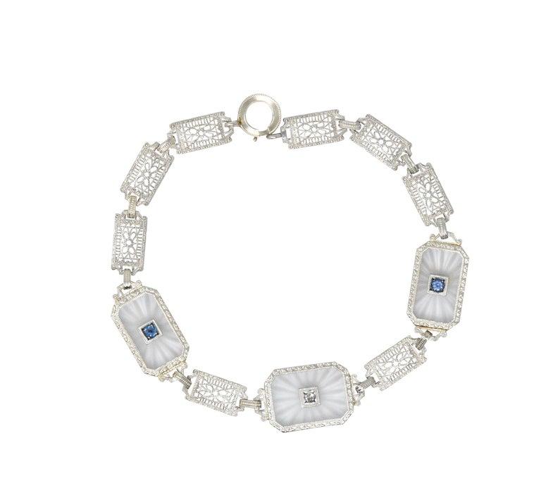 1930s Camphor Glass Diamond Sapphire 14 Karat White Gold Bracelet For Sale 1