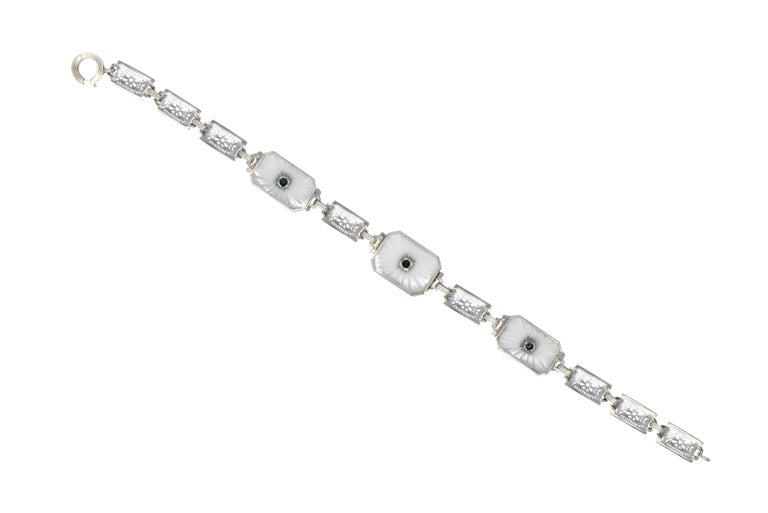 Women's or Men's 1930s Camphor Glass Diamond Sapphire 14 Karat White Gold Bracelet For Sale