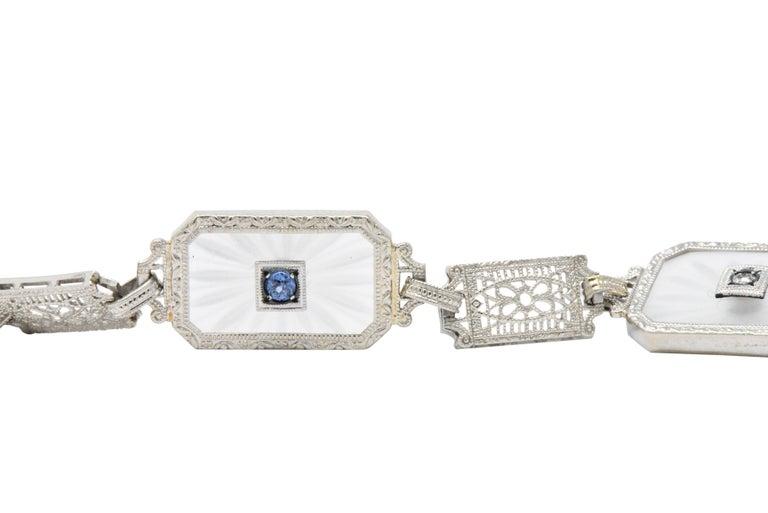 Art Deco 1930s Camphor Glass Diamond Sapphire 14 Karat White Gold Bracelet For Sale