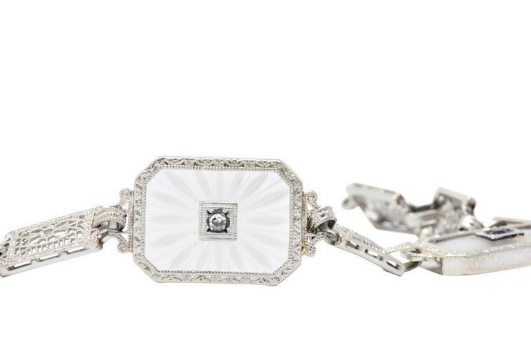 1930s Camphor Glass Diamond Sapphire 14 Karat White Gold Bracelet In Good Condition For Sale In Philadelphia, PA
