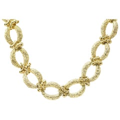 Chic Large 14 Karat Gold Necklace and Bracelet Combo