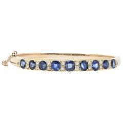 Victorian 4.00 Carat Sapphire, Diamond and 14 Karat Gold Bangle Bracelet