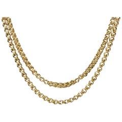 Victorian 1890s 14 Karat Gold Long Chain Necklace